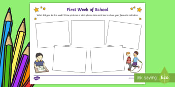 First Week of School Activity Sheet - EYFS, Early Years, Nursery, Reception, KS1, Key Stage 1, Back To School, Transition, New School Year