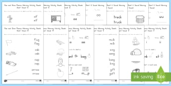 Rise and Shine Phonics Short Vowel Sounds Morning Activity Sheets - Short vowels, vowel sounds, short vowel sounds, a e i o u, vowels, us phonics