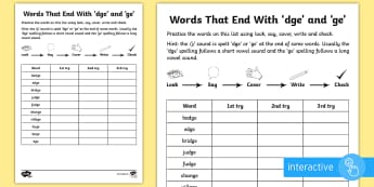 Year 2 Spelling Practice /j/ Sound Spelt 'dge' and 'ge' Go Respond Activity Sheet - year 2, spag, spelling, homework, ks1, English, SPaG, spellings, strategy, worksheet, method, how to
