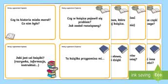 Karty z pytaniami Czytanie - lektura, polski, język, czytelnicza, książka, czytać, omawianie,Polish