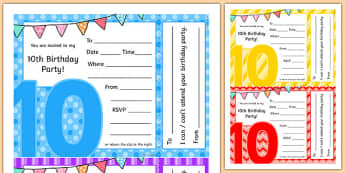 10th Birthday Party Invitations - 10th birthday party, 10th birthday, birthday party, invitations