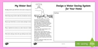 Water Saving System Design Activity - Australia YR 3 and 4 Design Technology, design technology, design, planning, water consumption, wate