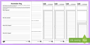 KS2 Ascension Day Newspaper Report Writing Activity Sheets - KS2 Ascension day (25.5.17), 25th May, writing, newspaper report, report writing, KS2, year 3, year
