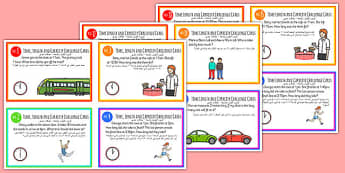 Time, Length and Capacity Problem-Solving Challenge Cards Arabic Translation - time, clock, measure, capacity, volume, ssm, measurement, ks1, maths, challenges, problems, arabic, eal