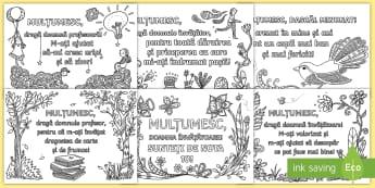 Mulțumesc, dragă dascăl! Pagini de colorat mindfulness - mesaje de mulțumire, sfârșit de an, relații, recunoștință, română, absolvire