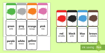 Colour Matching Flashcards English/Portuguese  - Colour Matching Flashcards - colour, matching, flashcards, match, flashards, mathching, flascards, e