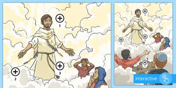 Ascension Day Picture Hotspots - KS2 Ascension day (25.5.17), 25th May, Jesus, Christianity, disciples, mountain, ascending, heaven, Twinkl Go, twinkl go, TwinklGo, twinklgo