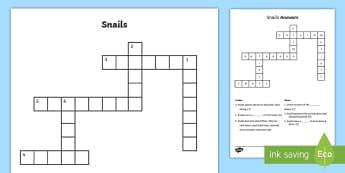 Snails Crossword - Snails, Shell, Snailery, Mollusc, Living Things,Irish, slime, slug