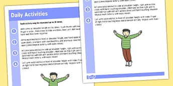 Gross Motor Skills Daily Activities Sheet - gross motor skills