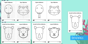 Ronald the Rhino Symmetrical Animal Display Posters - Ronald the Rhino, Twinkl storybook, games, activities, maths, mathematics, symmetry, shape space mea