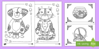 Pets Mindfulness Coloring Activity - pets, color, coloring, mindfulness, art