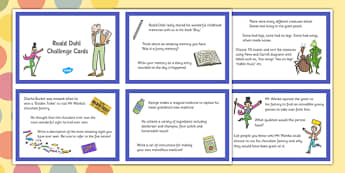 Roald Dahl Challenge Cards - roald dahl, challenge, cards, story
