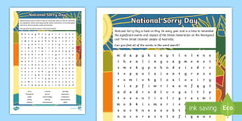 National Sorry Day Word Search - National Sorry Day, Aboriginal, Torres Strait Islander, reconciliation, stolen generation, apology,A