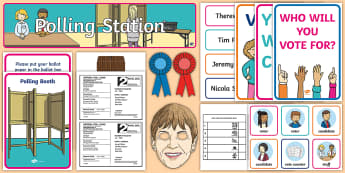 Polling Station General Election 2017 Role Play Pack - Ballet Box, Polling Card, Polling Station, Election, Rosette, UK Election, General election, Theresa