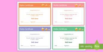 Maths 'Reasoning' Certificate - Rewards, Learning, Positive, Praise, Award, Certificate, Recognition, A02