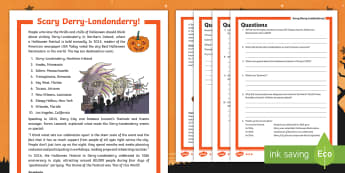 Scary Derry Differentiated Reading Comprehension Activity - Halloween, carnival, parade, costumes, Celtic, festival