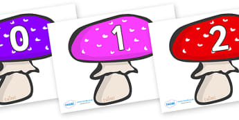 Numbers 0-100 on Mushrooms - 0-100, foundation stage numeracy, Number recognition, Number flashcards, counting, number frieze, Display numbers, number posters