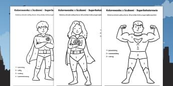 Kolorowanki z liczbami Superbohaterowie - kolorowanka, kolorowanie, pokoloruj, kolor, liczby, cyfry, numerki, matematyka, matematyczna, bohate