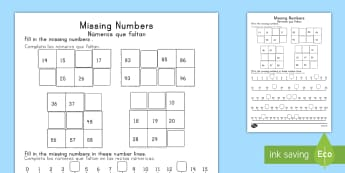 Missing Numbers Activity Sheet - US English/Spanish (Latin)  - Maths Mastery, Counting, number, place value, ones, units, tens, sequence, pattern, missing, find, s