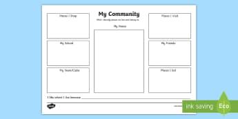My Community Activity Sheet - EYLF Geography, my community, people and places,Australia,worksheet,worksheets,