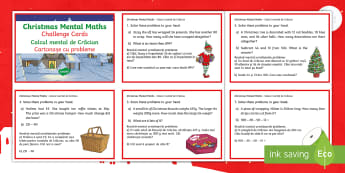 Year 3 Christmas Mental Maths Challenge Cards English/Romanian - Christmas, mental maths, EAL, Christmas mental maths, Year 3 mental maths skills, Y3 maths, year 3 c