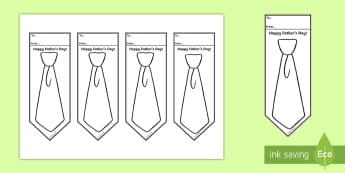 Father's Day Tie Bookmarks - Fathers' Day, father, dad, grandad, bookmark, greeting card, colouring, drawing,Irish