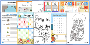 KS2 Summer Fun in the Holidays: At the Seaside Activity Pack - beach, holidays, sea, rock pool, summer