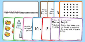 Times and Divide Card Games x5 - times, divide, card, game, 5
