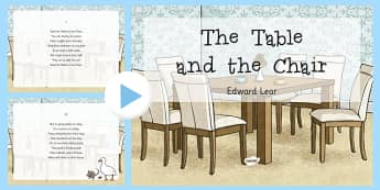 The Table and the Chair Edward Lear Poem PowerPoint - Edward Lear, poem, poetry, literature, key stage 2, English