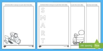 KS1 Safer Internet Day Design a Poster Activity Sheet Pack - Safer Internet Day, Internet safety, online safety, poster templates, worksheet