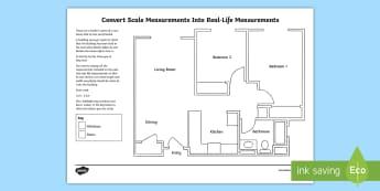 Convert Scale Measurements Into Real-Life Measurements: A Floor Plan Activity Sheet - Design it - Build it!, worksheet, converting measurements, ratio, units of measurements