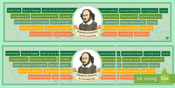 Shakespeare Quotations You Use Every Day Display banner - Secondary - Shakespeare's Birthday 23/04/2017