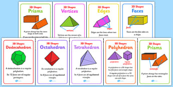 3D Shape Properties Display Posters - properties, 3D shapes, posters, display, faces, edges, vertices, shape quiz, prisms, polyhedron, tetrahedron, octahedron