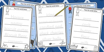 Trace the Words Worksheets to Support Teaching on Biscuit Bear - Biscuit, Bear, Story, Cut, Out