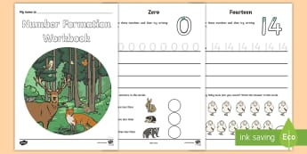 Woodland Animal Themed Number Formation Booklet - Number Formation Workbook Jungle - number, formation, jungle, number fromation, number formtion, num