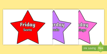 Multicoloured Stars Days of the Week - English/Portuguese - Multicoloured Stars Days of the Week - stars, days, week, pack, days of the wek, days pf the week, d