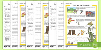 Jack and the Beanstalk Reading Comprehension Differentiated Activity - Jack and the Beanstalk, tall tales, activity, differentiated, question and answer, traditional tales