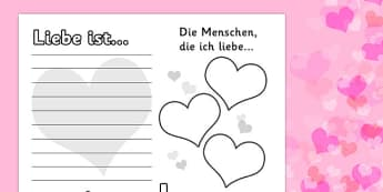 Valentine's Day Worksheet German - german, worksheets, worksheet, work sheet, valentines day, valentines, valentines worksheet, acrostic poem worksheet, people I love worksheet, sheets, activity, writing frame, filling in, writing activity