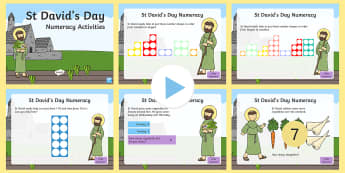 St David's Day Reception Numeracy Activities PowerPoint - Dewi Sant, St David's Day, St David, St David's day, st davids day, numeracy, numeracy activities,