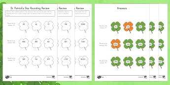 St. Patrick's Day Rounding Review Differentiated Activity Sheets - St. Patrick's Day, rounding, tens, hundreds, thousands, ten thousands, clover, shamrock, 3rd grade,