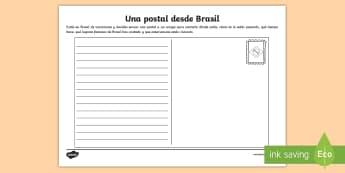 Ficha de actividad: Una postal desde Brasil - Brasil, carnavales, postal, carta, correo, vacaciones, carnaval.,Spanish