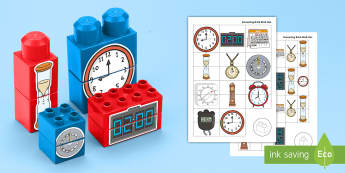 Time-Themed Matching Connecting Bricks Game - EYFS, Early Years, KS1, duplo, lego, plastic bricks, building bricks, telling the time, clock, watch
