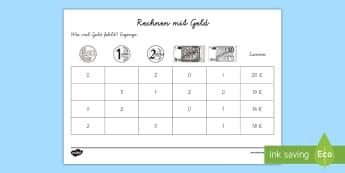 Rechnen mit Geld 3 Arbeitsblatt: Erstes Rechnen (Addieren) - Mathematik: Zahlen, Geld, Addition, Rechnen, Euro, Kl.1/2, maths, numbers, money, addition, counting