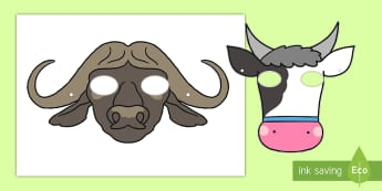 The Cow and the Buffalo Role-Play Masks - Traditional Thai Tales, cow, buffalo, roleplay, role play