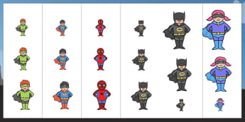 Superhero Themed Size Ordering - superheroes, size, order, sort