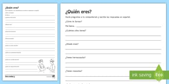 Tell Me About You Basic Questions Activity Sheet Spanish - personal, identification, basic, structures, interview, worksheet