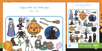 Halloween Themed I Spy With My Little Eye Activity Sheet US English/Spanish (Latin) - Halloween,Activity Sheet, describe, ESL, EAL, I spy, find