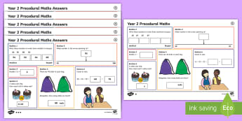 Procedural Year 2 Mat 6 Maths Activity Mats - Maths Acitvity Mats, matiau mathemateg, gweithgareddau mathemateg, Deunyddiau sampl rhifedd, Profion