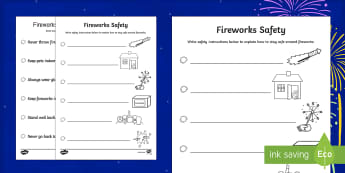 Fireworks Safety Poster Writing Activity Sheet