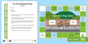 Car-Free Day Board Game - activity, game, environment, working Together, health and wellbeing, bikes, scooters, Scottish